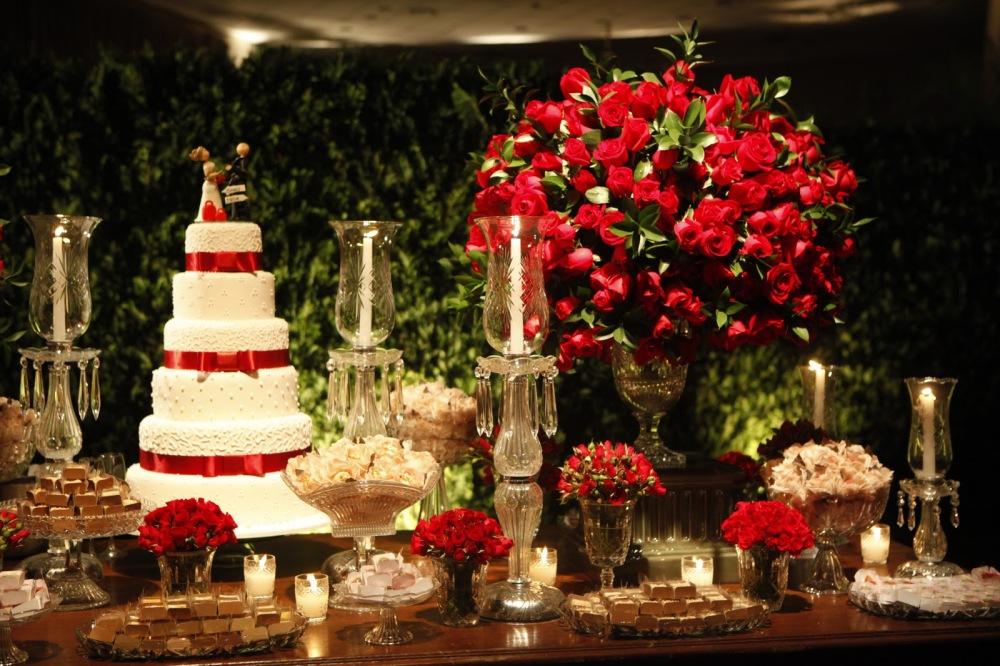 decoração em vermelho