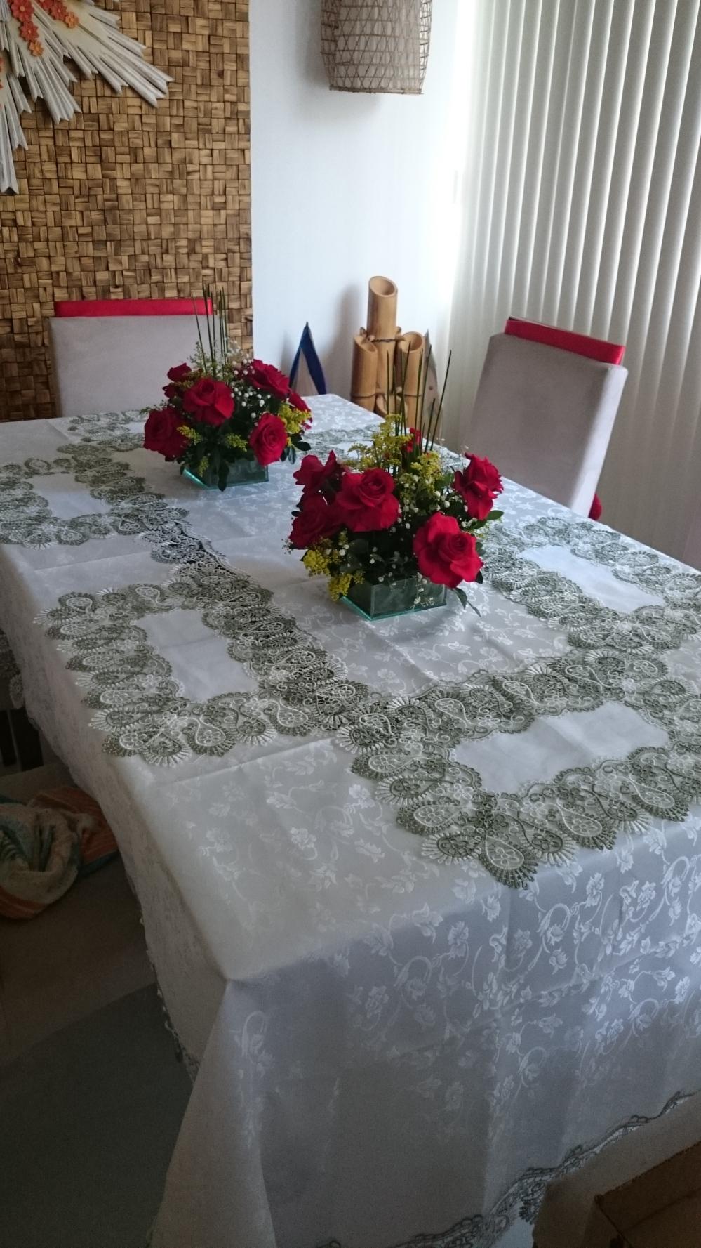 toalha de renda verde para natal
