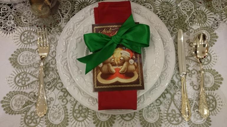cartão de natal como porta guardanapos