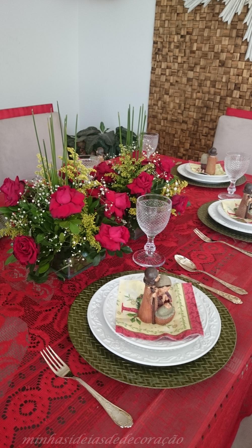 mesa de natal vermelha